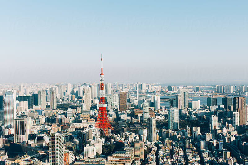 Tokyo Cityscape With Tokyo Tower on Sunny Day by Julien L. Balmer for Stocksy United