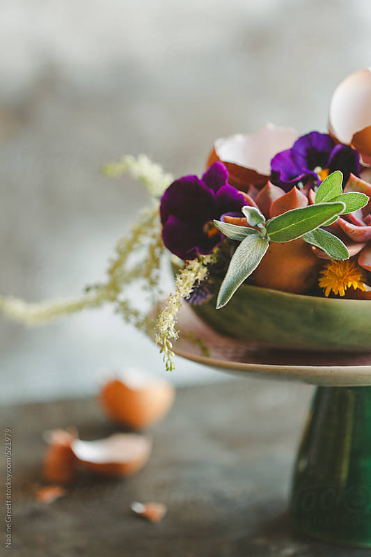 DIY Easter Table Flower Arrangement with Egg Shells, Succulents, Flowers and Herbs by Nadine Greeff for Stocksy United