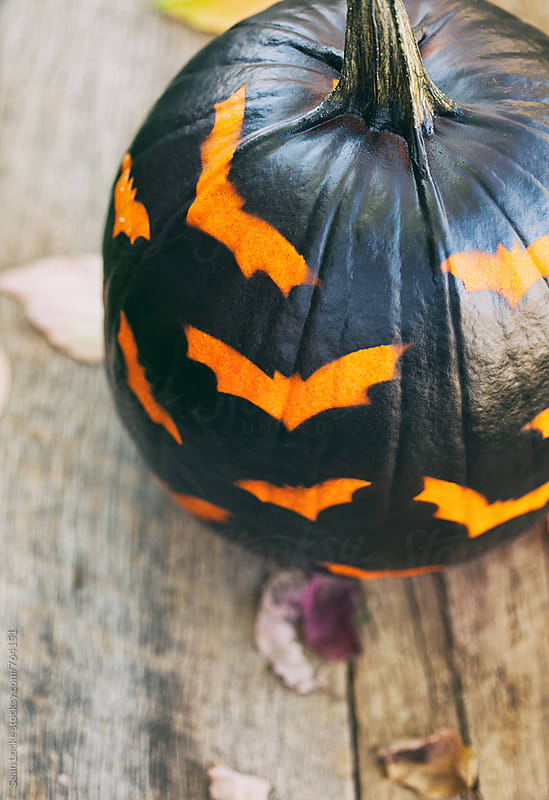 Painted: Bat Design Pumpkin On Rustic Wood by Sean Locke for Stocksy United