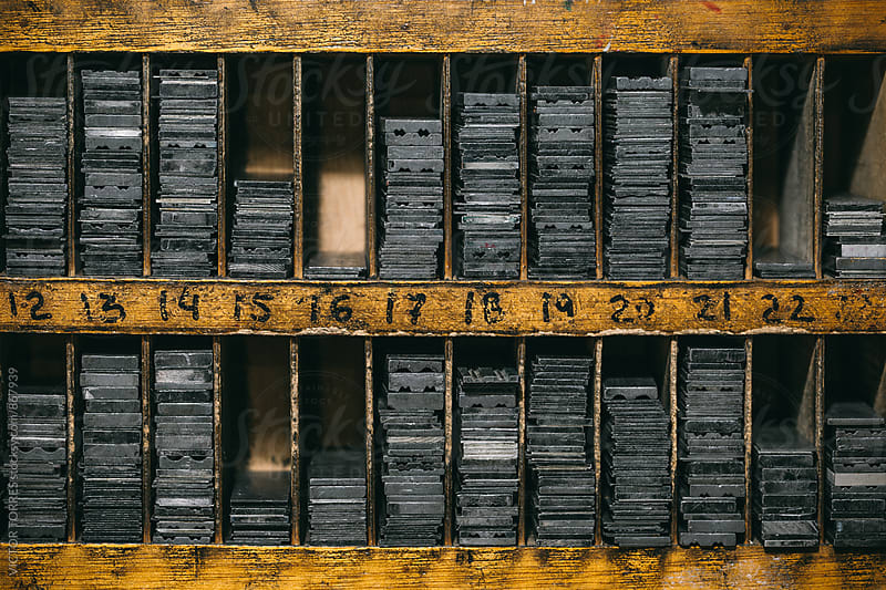 Box of Lead Pieces from and Old Printing House by VICTOR TORRES for Stocksy United