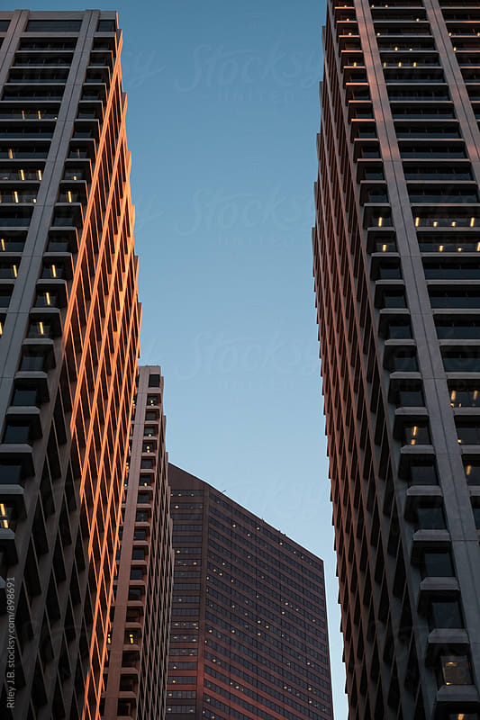 Large office towers bathing in morning's beautiful light. by Riley J.B. for Stocksy United