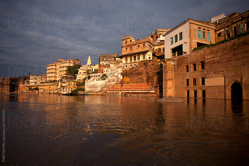 Varanasi city as seen from River Ganga by PARTHA PAL for Stocksy United