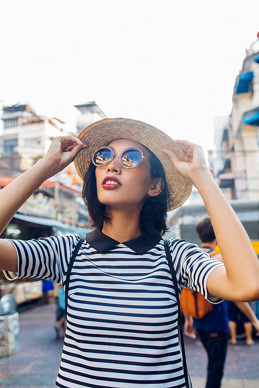 Portrait of a Beautiful Asian Woman With Sunglasses by Lumina for Stocksy United