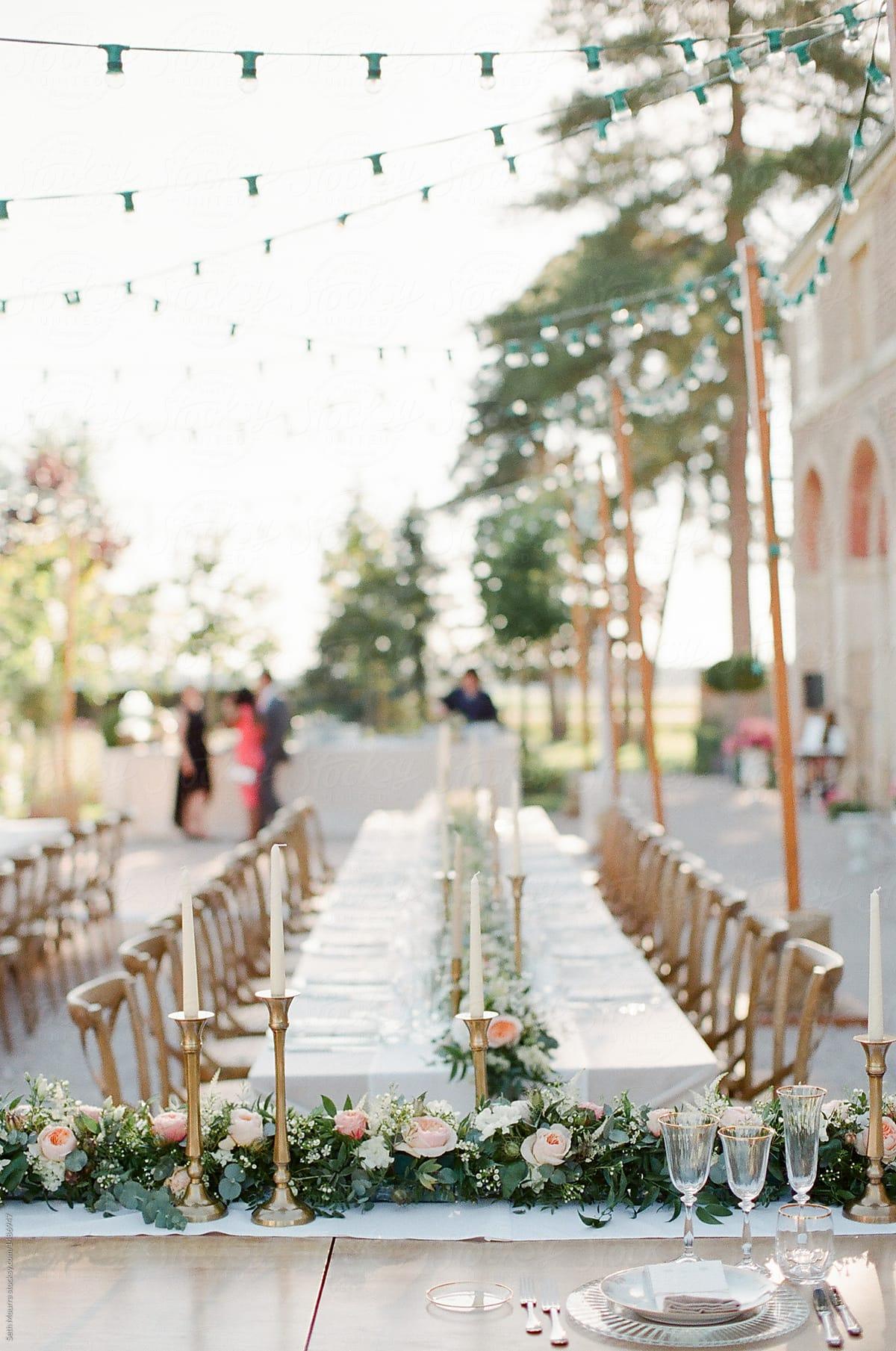 Outdoor Burgundy Wedding Reception by Seth Mourra - Dinner party, Wedding  reception - Stocksy United