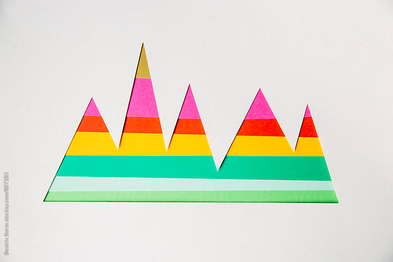 Colorful striped graphs on white by Beatrix Boros for Stocksy United