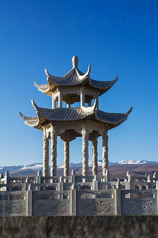 Buddhist altar beside Qinghai lake,China by zheng long for Stocksy United