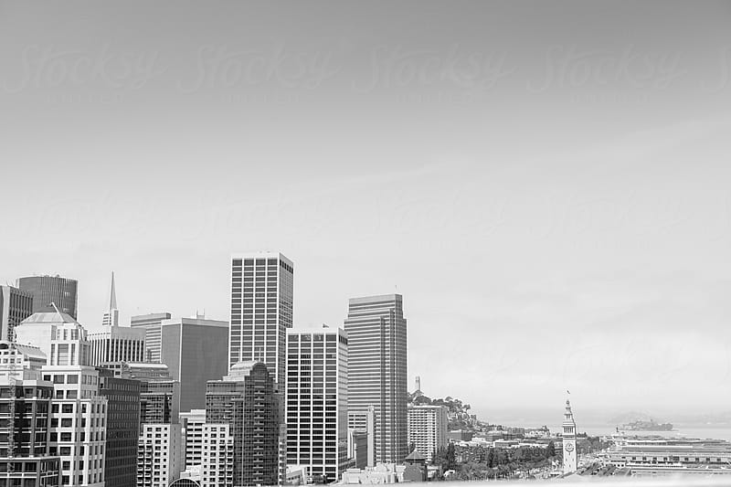 Black and white image of San Francisco. by RZ CREATIVE for Stocksy United