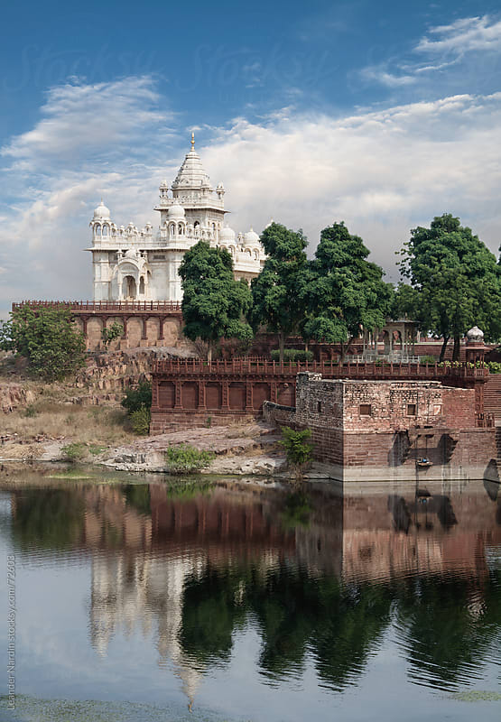 a castle called jaswant thada with a moat by Leander Nardin for Stocksy United