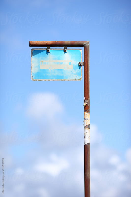 Old busstop sign by Marcel for Stocksy United