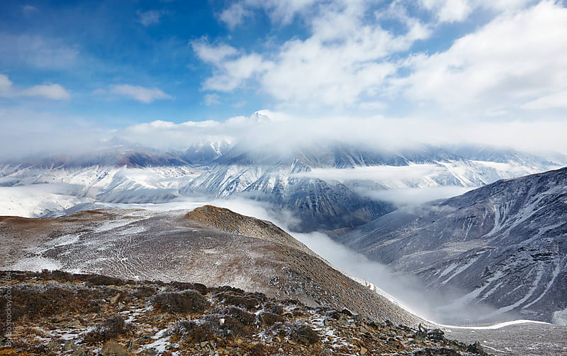 landscape of now mountain in Sichuan China by Bo Bo for Stocksy United