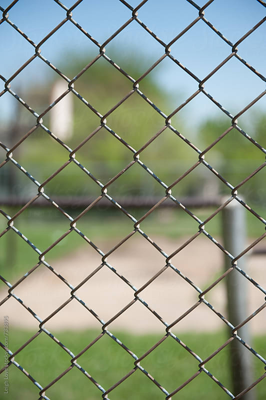 Looking Through A Chain Link Fence To Blue Sky and Green Grass by Leigh Love for Stocksy United