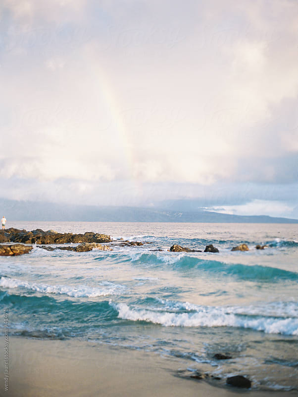 sunrise rainbow at ocean by wendy laurel for Stocksy United