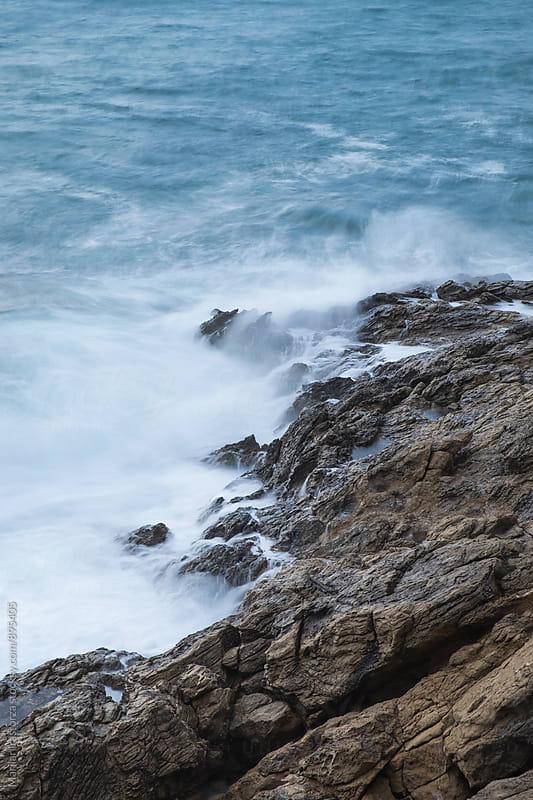 Mediterranean sea waves hitting the rocks by Marilar Irastorza for Stocksy United