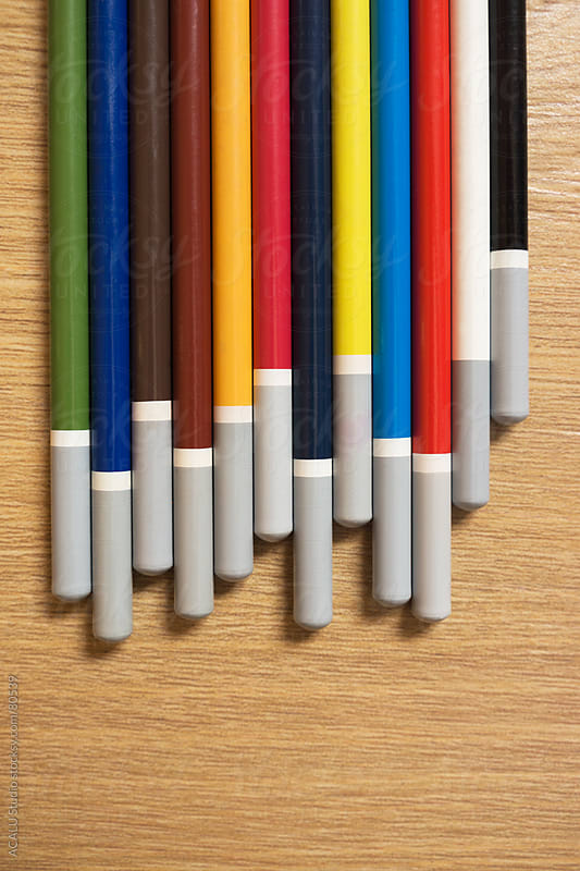 Bottom of colored pencils by ACALU Studio for Stocksy United