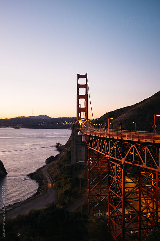 sunrise at golden gate bridge by Jesse Morrow for Stocksy United