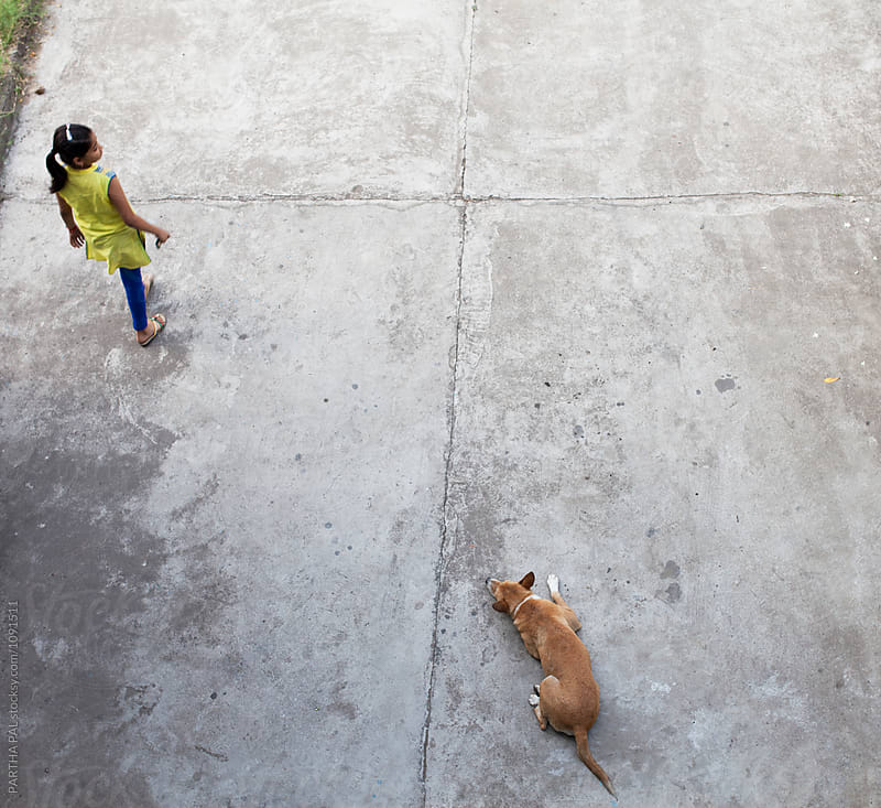Teenager walking and a stray dog taking rest by PARTHA PAL for Stocksy United