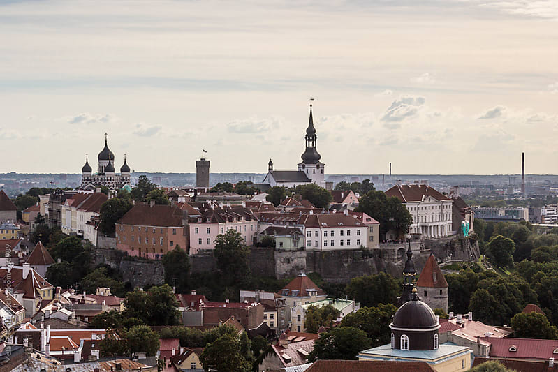 Estonia, Tallinn - Toompea (Cathedral Hill) with Nevsky Cathedral, Tall Hermann and St. Nikolai Church by Melanie Kintz for Stocksy United