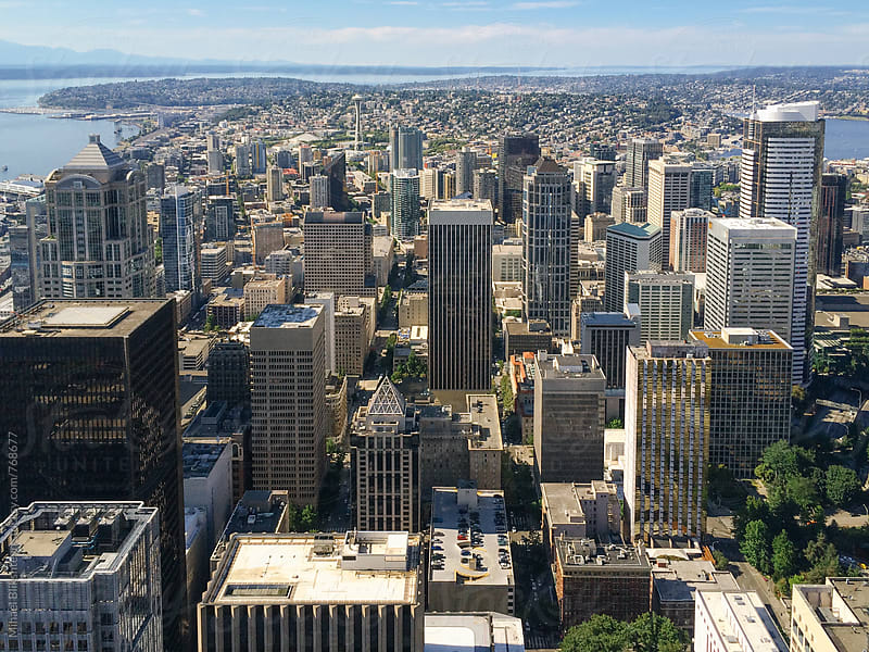Bird's-eye view of downtown Seattle skyline at daytime by Mihael Blikshteyn for Stocksy United