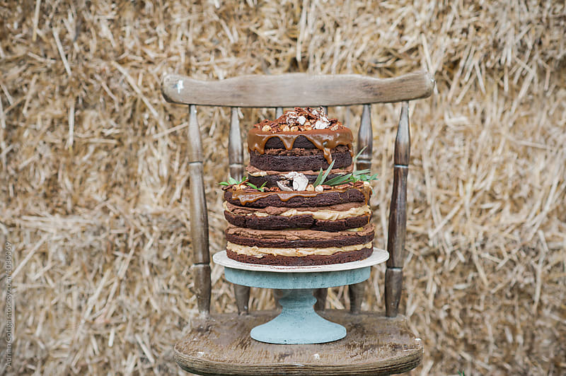 Rustic chocolate cake  by Adrian Cotiga for Stocksy United