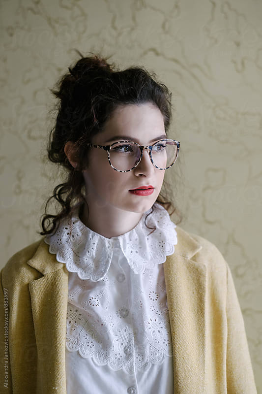 Portrait of Beautiful Stylish Woman Wearing Glasses by Aleksandra Jankovic for Stocksy United