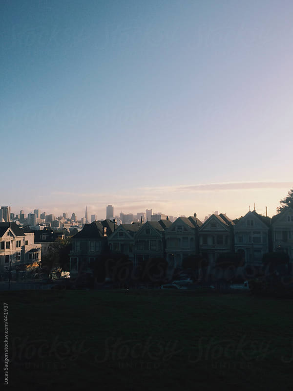 San Francisco's Painted Ladies at Sunset by Lucas Saugen for Stocksy United