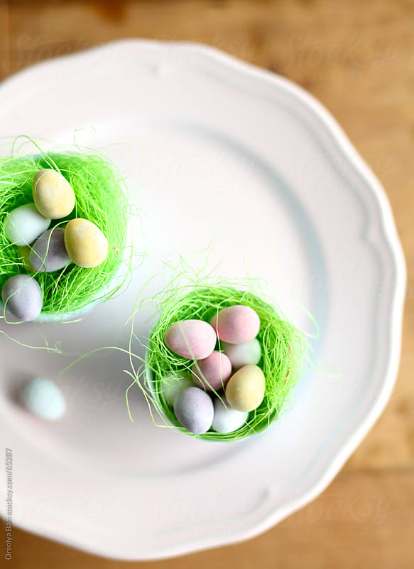 Easter eggs on plate by Orsolya Bán for Stocksy United