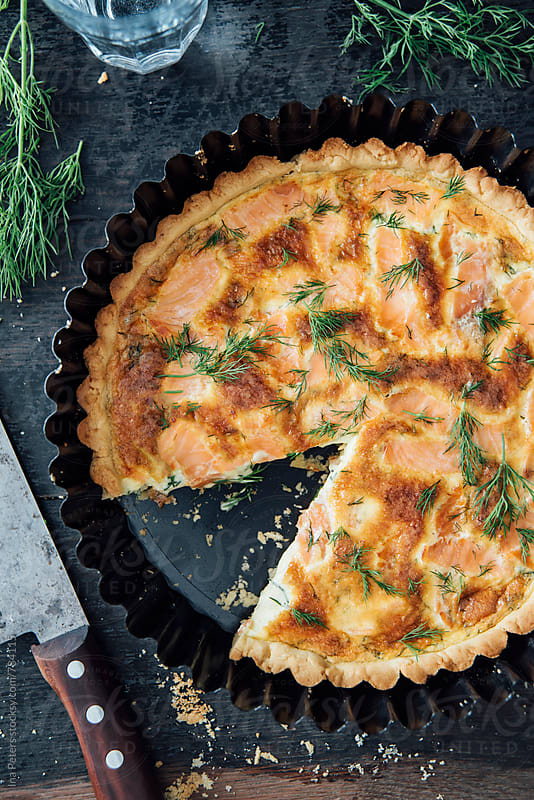Food: Lox quiche with dill by Ina Peters for Stocksy United