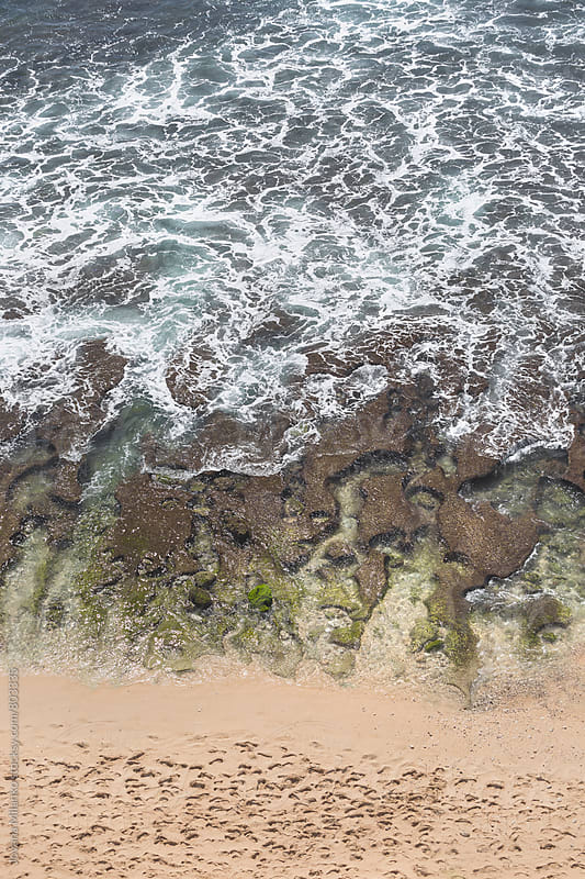 Aerial view of low tide on a tropical beach by Jovana Milanko for Stocksy United