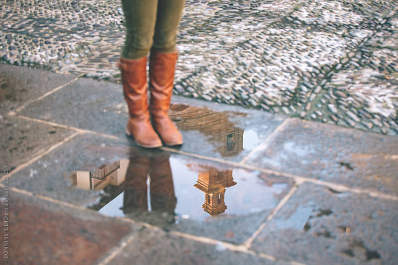 Reflection in a puddle of the cathedral. by BONNINSTUDIO for Stocksy United