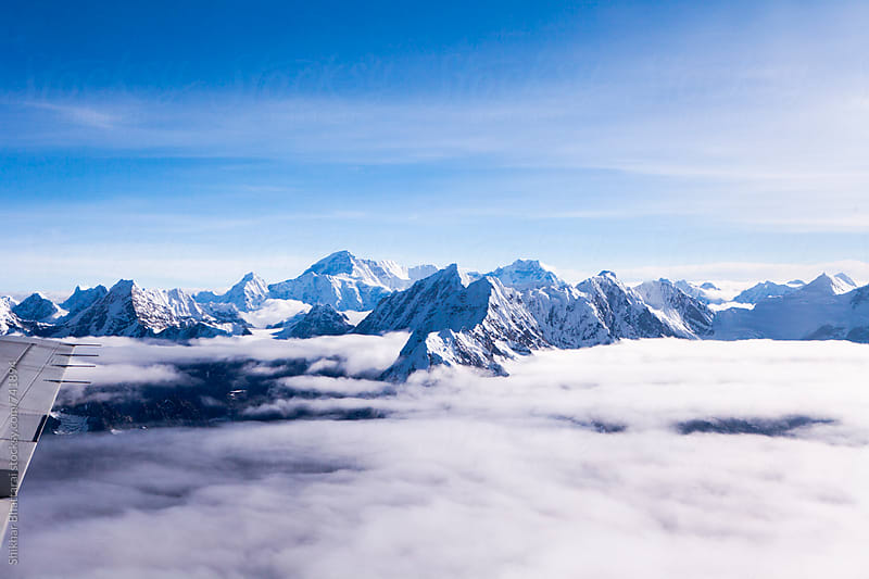 Himalayan mountains seen from a mountain flight in Nepal. by Shikhar Bhattarai for Stocksy United