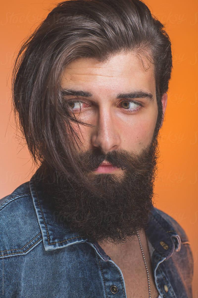 Awesome Young Man With Long Hair And Beard By Amir Kaljikovic Man Beard Natural Hairstyles Runnerswayorg