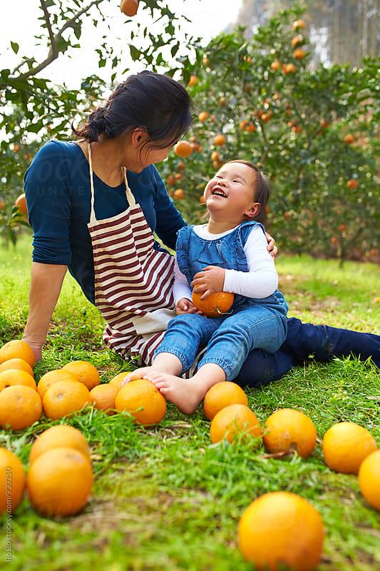 lovely little asian girl in the orange farm with her mother by Bo Bo for Stocksy United