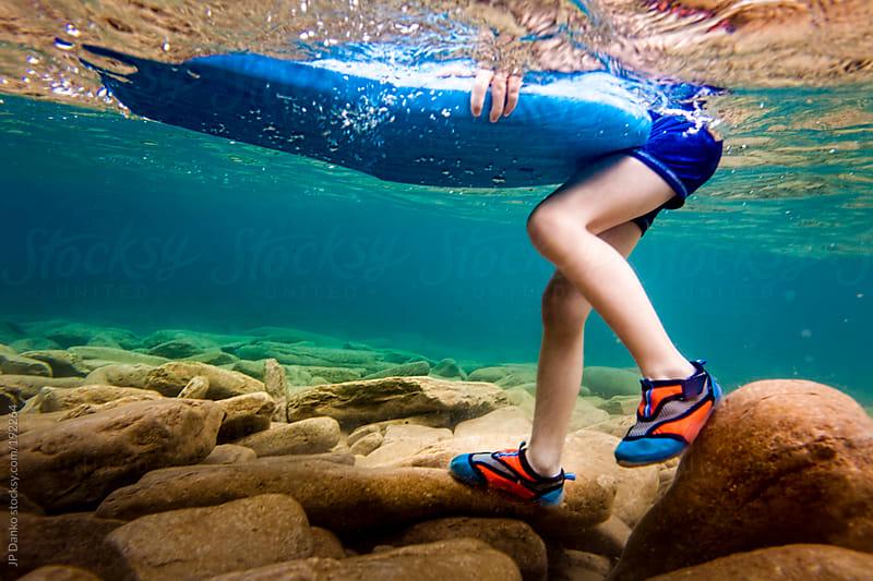 Little Boy Swimming Underwater in Clear Lake in Summer by JP Danko for Stocksy United