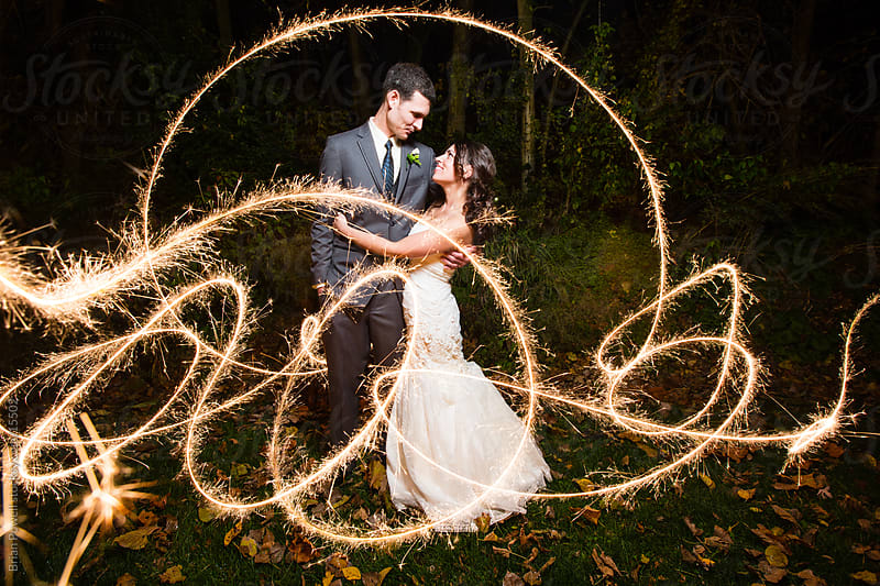 sparkler wedding exit by Brian Powell for Stocksy United