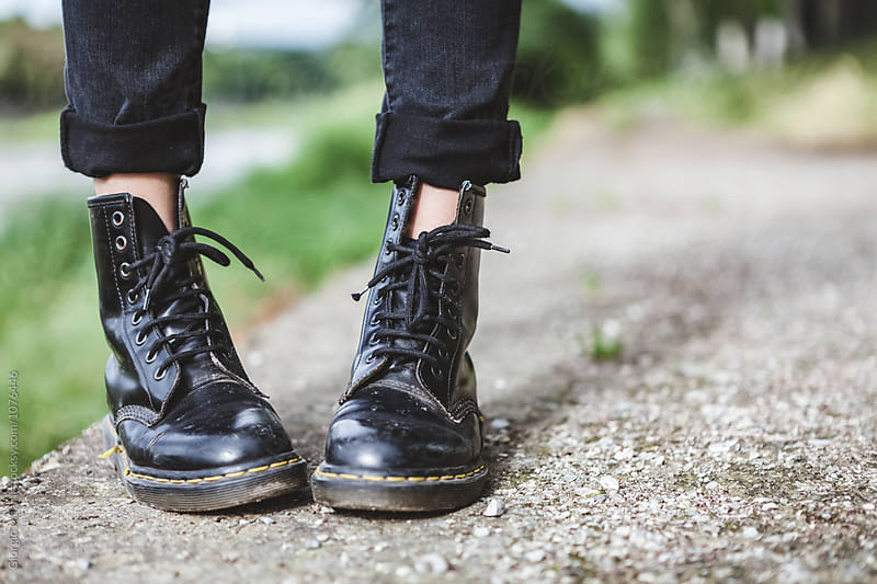 In Teenage Shoes, Urban Black Boots by Giorgio Magini for Stocksy United