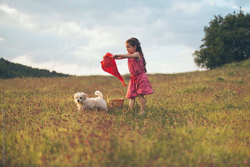 Child playing with her dog by Dejan Ristovski for Stocksy United