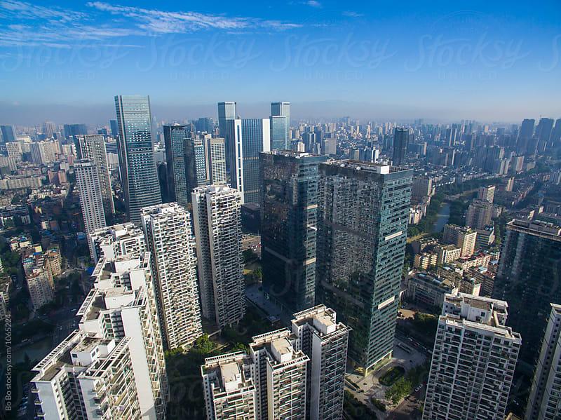 aerial view of Chengdu city in the morning by Bo Bo for Stocksy United