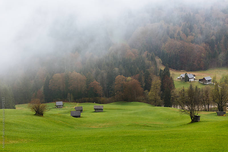 Misty landscape with green field and houses by Andrey Pavlov for Stocksy United