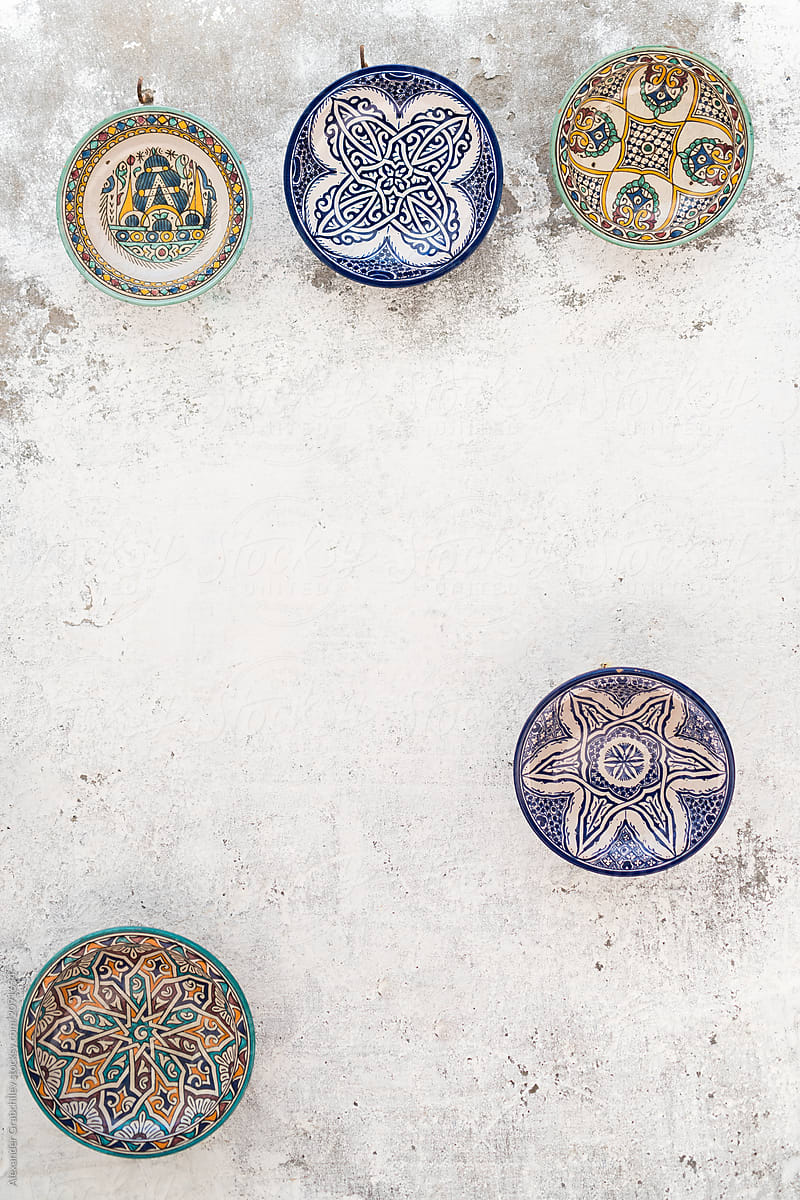 Traditional Moroccan Ceramic Plates On A Wall By Alexander Grabchilev Stocksy United