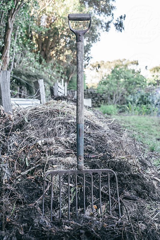 Old Pitchfork in Garden Compost Heap by Rowena Naylor for Stocksy United