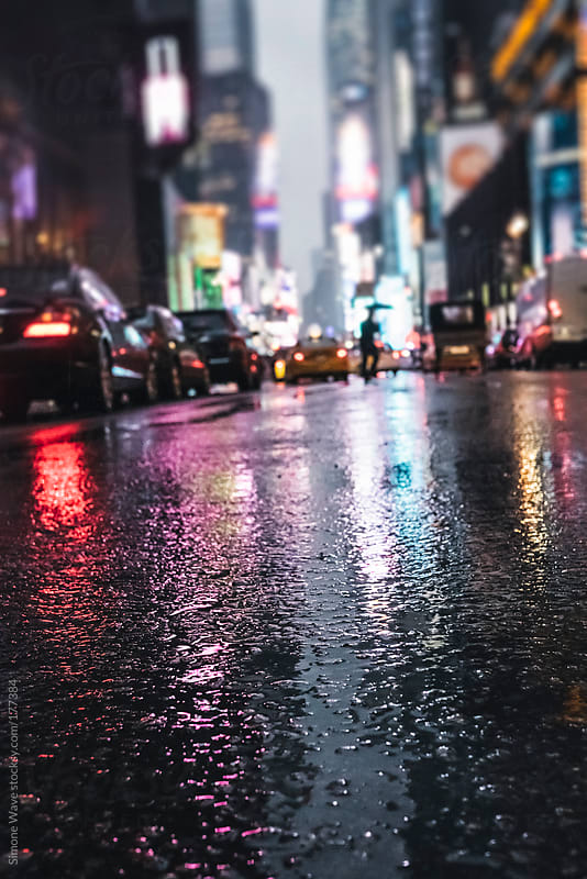 Times Square in the rain - New York City by Night by GIC for Stocksy United