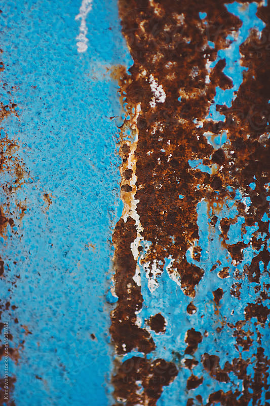 Blue Paint and Rust by Kim Swain for Stocksy United