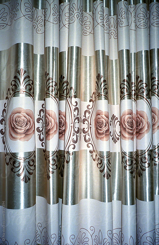 Glossy curtain with rose print by Di Na for Stocksy United