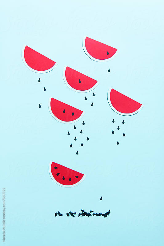 Watermelon paper with seeds by Nataša Mandić for Stocksy United