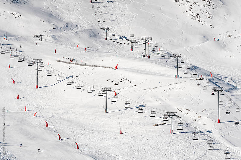 Skiiing and Ski lift patterns by James Tarry for Stocksy United