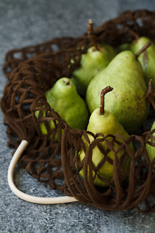 Fresh Green Pears in a String Bag by Dobránska Renáta for Stocksy United