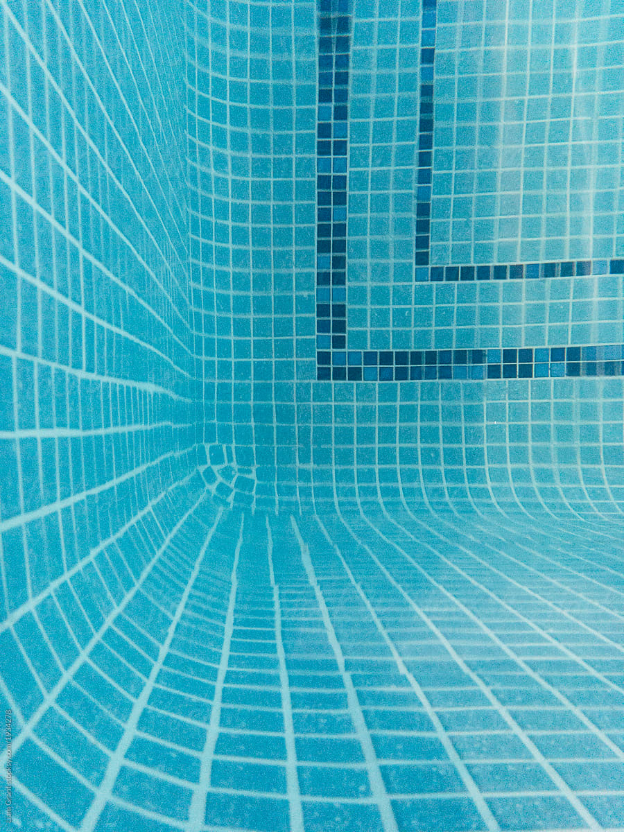 Tiled floor of an indoor heated swimming pool. UK. by Liam Grant ...