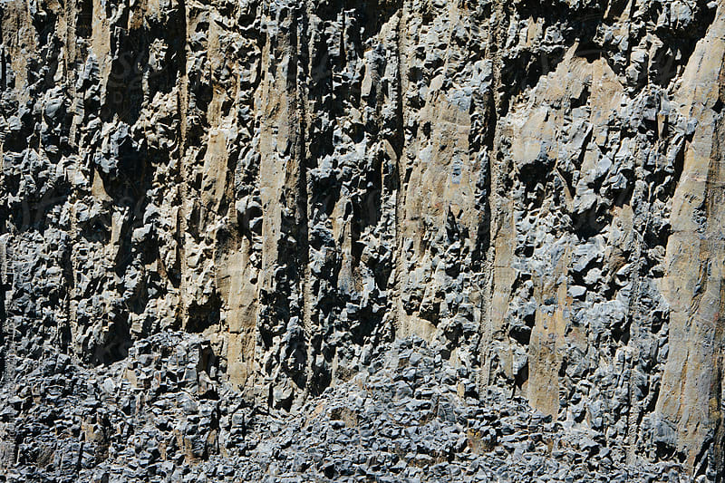 Detail of carved and blasted volcanic basalt rock for road access, Oregon by Paul Edmondson for Stocksy United
