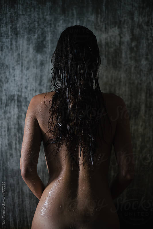 Back view of beautiful woman naked body after shower by Nabi Tang for Stocksy United