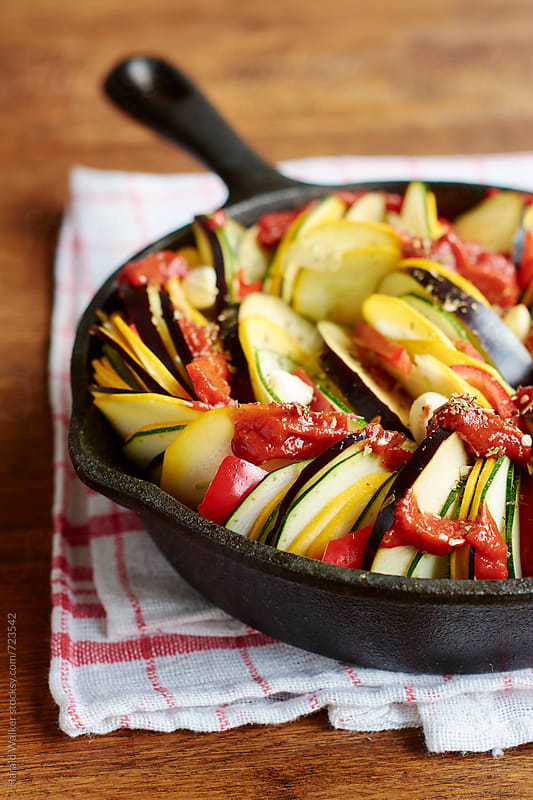 Ratatouille in a pan by Harald Walker for Stocksy United